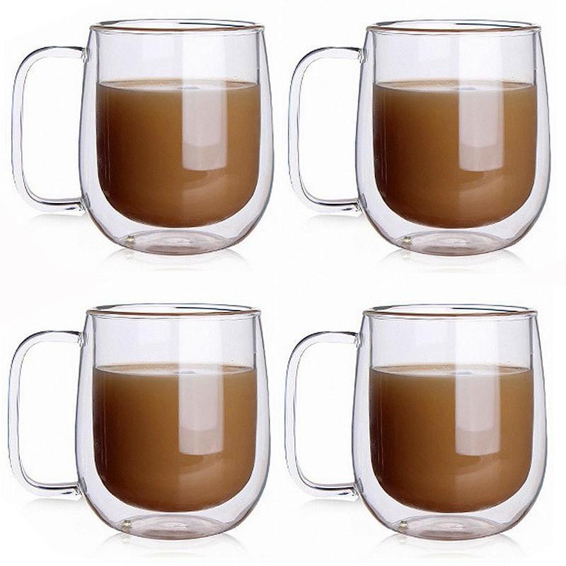 4 더블 벽 절연 커피 유리 컵 세트 고품질 사무실 머그잔 2 와인 안경