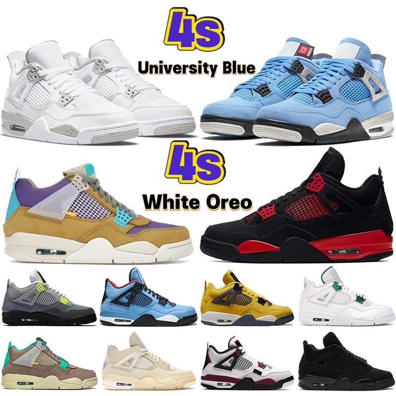 2020 새로운 4 4S는 Jumpman 농구 신발 OVO 튄 금속 보라색, 적색, 녹색, 검은 고양이 야외 남성 스니커즈 미국 7-13 사육