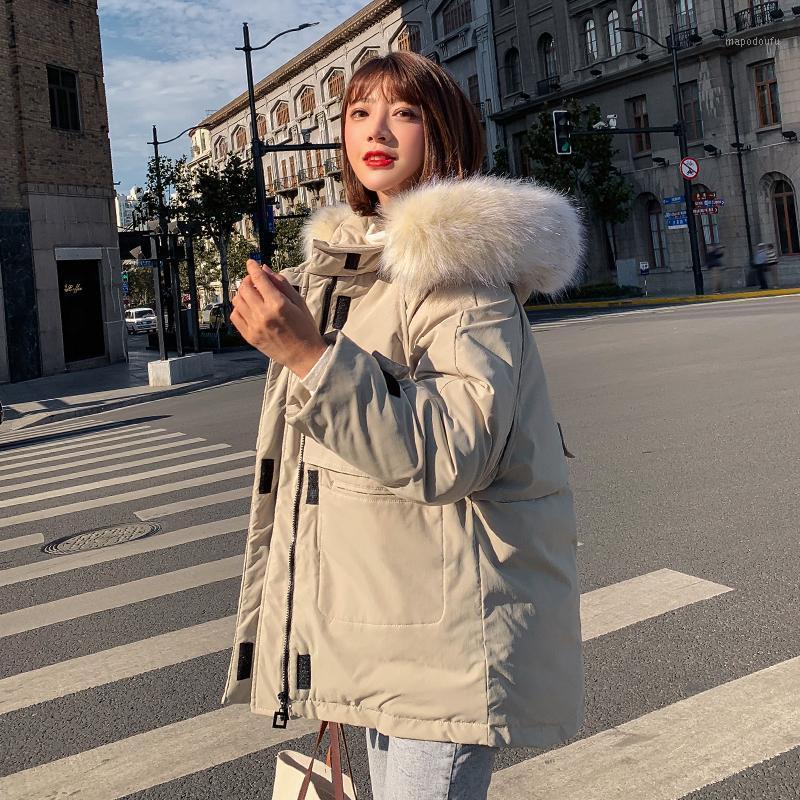 İki Büyük Cepler 2020 Yeni Kadın Kış Ceket Siyah Bej Kapşonlu Kürk Yaka Kadın Parka ile Kısa Ceket Dış Giyim1