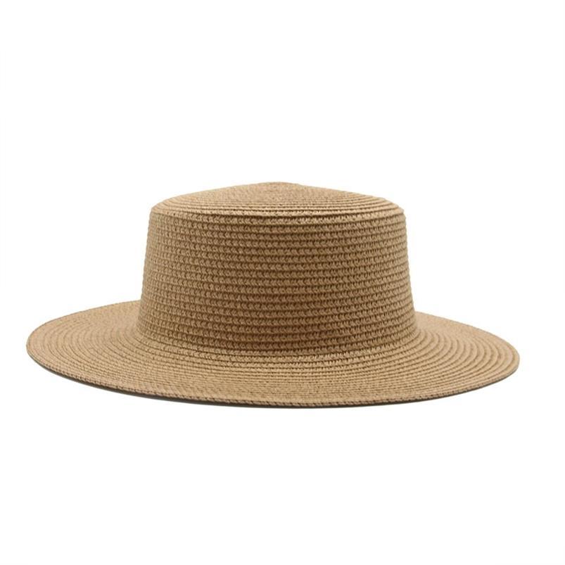 Chapéus de Sol Mulheres Homens Caps Apartamento Liso Brim Palha Palha Verão Primavera Ao Ar Livre Beach Handemade Casual Branco Bucket Branco 210608