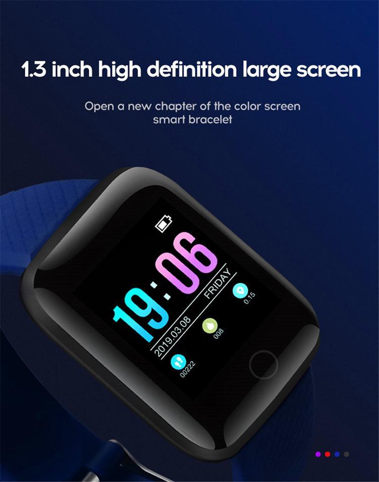 Bluetooth Sport Smart Montres Smart Tension artérielle Moniteur de fréquence cardiaque 116plus Bracelet Fitness Tracker Bande de podomètre pour hommes Femmes