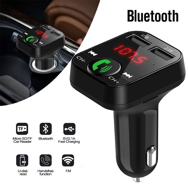 MP4 Oyuncular Araba Bluetooth FM Verici Kablosuz Handsfree Ses Alıcısı Otomatik LED MP3 Çalar 2.1A Çift USB Hızlı Aksesuarları