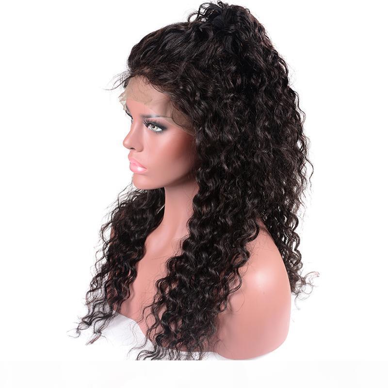 Leila full 360 parrucca frontale in pizzo precipitata Parte profonda 150% Brasiliana Wave Wave Wave Lace Parrucche per capelli umani per Nero Wome