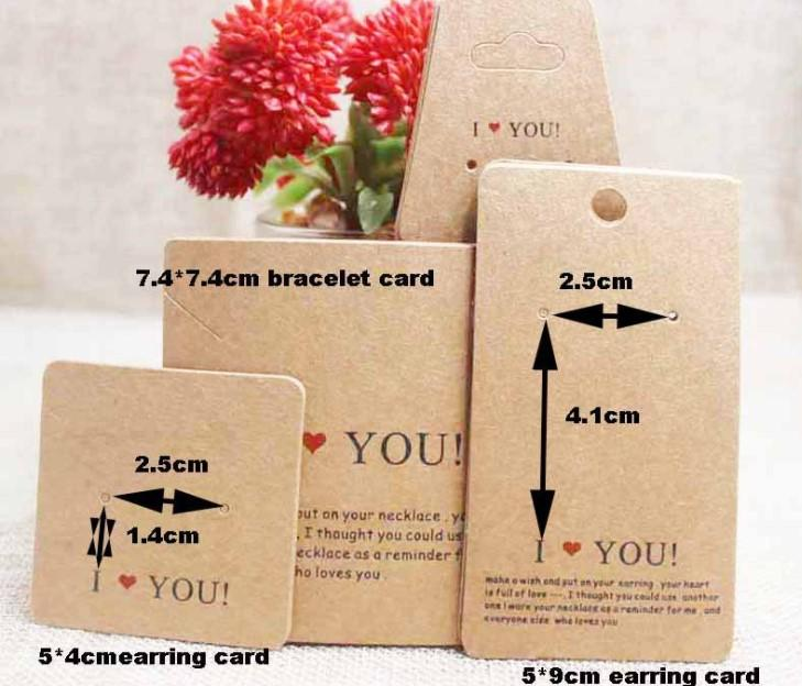 2021 Paper Earrings Ring Pendant packaging card white / Cow Leather Handmade Bracelet Necklace folding P002