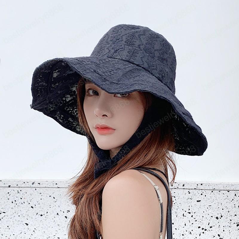 Dantel Yaz Hasır Şapka Kadınlar Plaj Güneş Şapkaları Geniş Ağız Disket Kap Moda Hızlı Kuru UV Koruma Açık Bayanlar Cops Cops