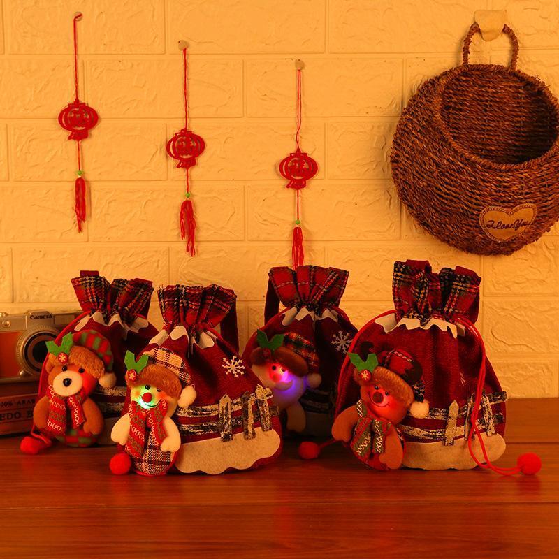 Decoraciones navideñas Suministros Santa Claus Luminoso bolso de manzana Bolsa de regalo de manzana con bolsillo de caramelo ligero.