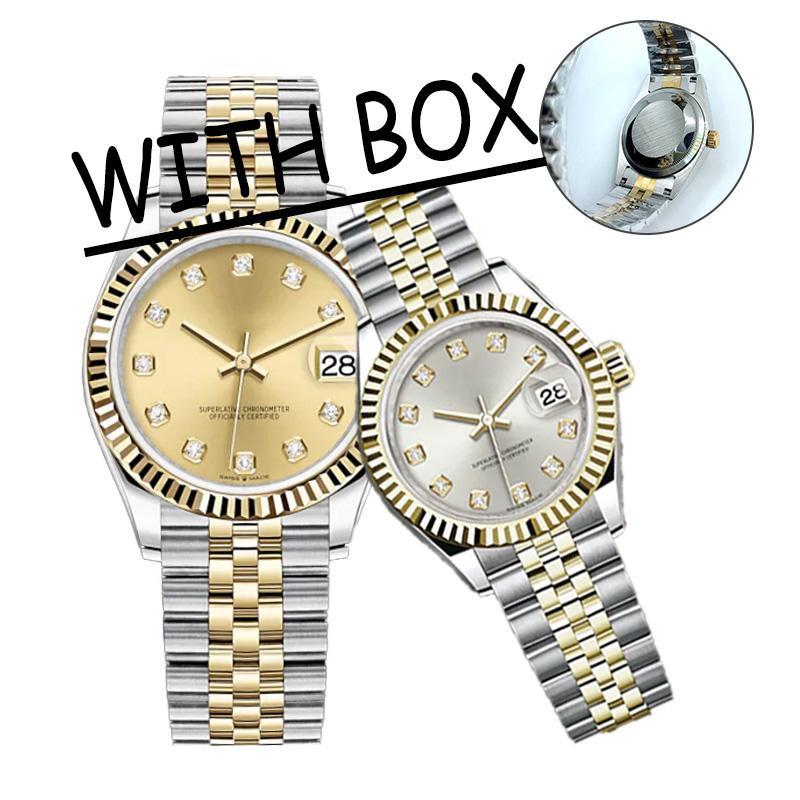 U1 Calidad Montre de Luxe 36/41mm Relojes automáticos para hombre Acero inoxidable completo Luminoso 28 / 31mm Mujeres Reloj de mujer Estilo de parejas Relojes de pulsera clásicos Reloj de Lujo