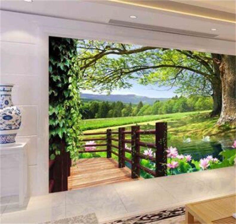 Luxe Européen Moderne HD 3D Arbre Paysage Fond Mur Mural Fond d'écran 3D Papiers de mur 3D pour TV Backdrop 1455 V2
