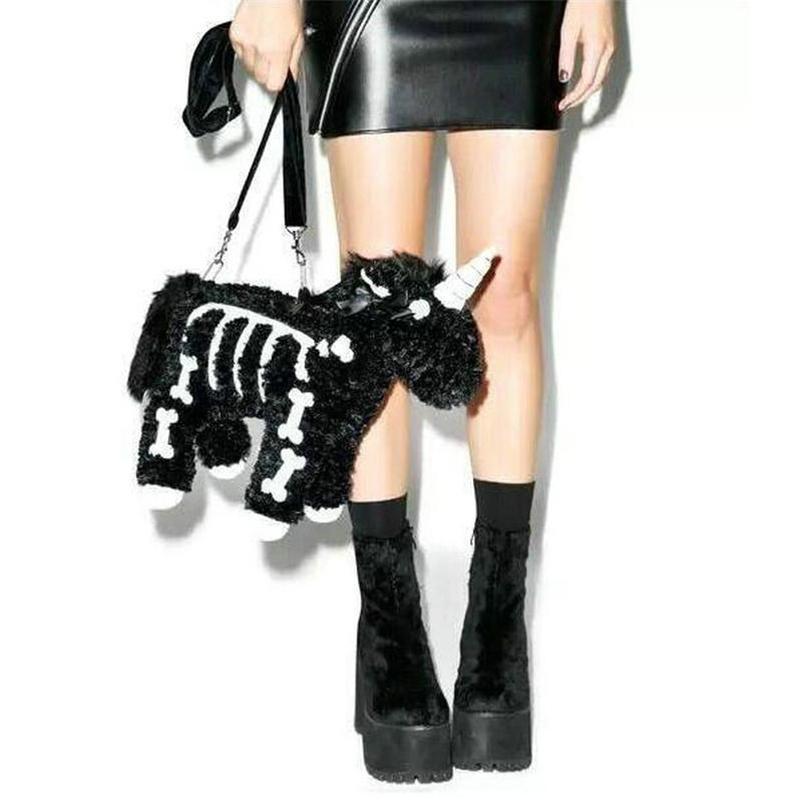 Punk Style Black Unicorn Crossbody bag Plush Cool black Evil Unicron Shoulder Bags Cool Guy Drak Unicornio Pink Unicorn bags 210331