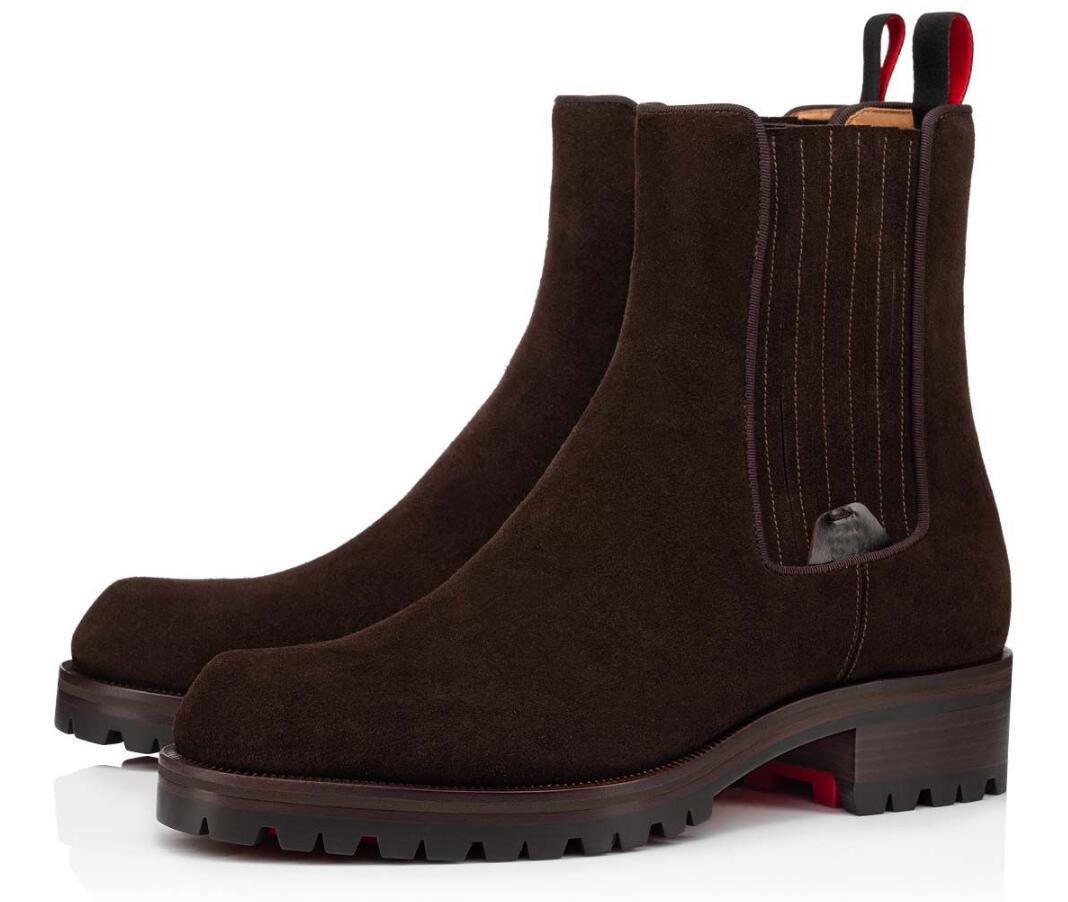 Lüks Tasarımcı Erkekler Ayak Bileği Çizmeler Kırmızı Alt Motok Patik Siyah, Kahverengi Süet Kauçuk Pabucu Taban Mens Moda Booty Ünlü Parti Düğün EU38-47