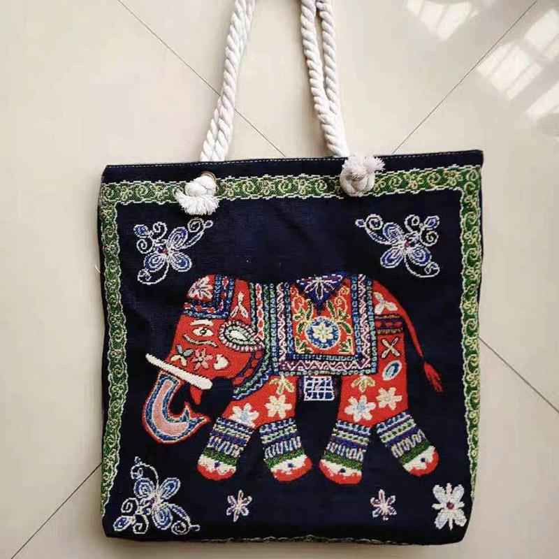 Thai style heavy rope single shoulder women's bag double side linen bagss elephant Tote Bags embroidery bagsss P055