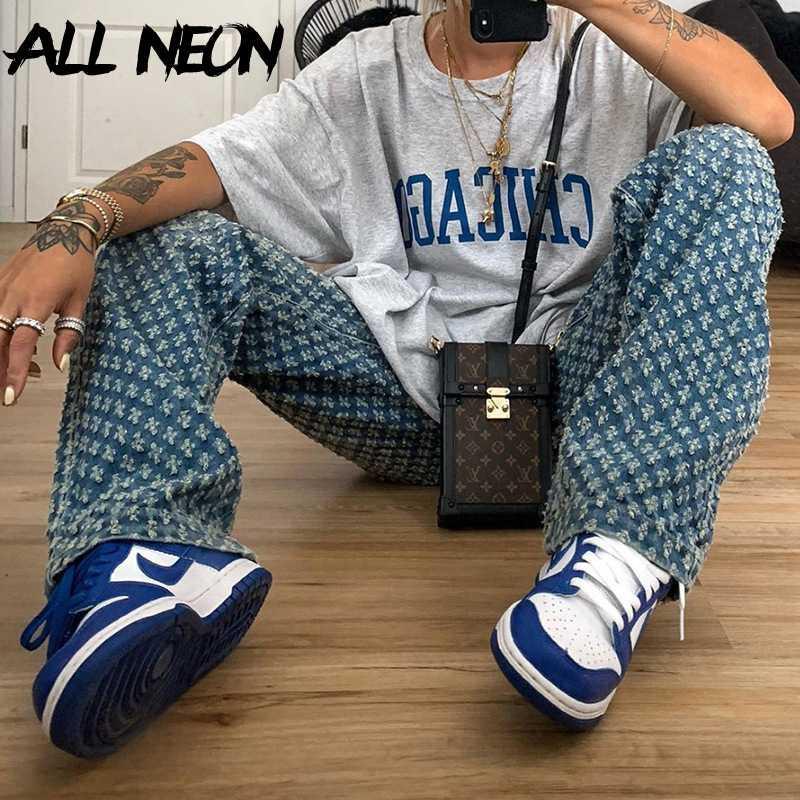Pantalon Vintage Y2K Pantalon déchiré Chute Hip Haut Haut Blue Hop Demin Mode Taille droite Jeans Allneon Streetwear 90s Rave Dégusté GXCSR