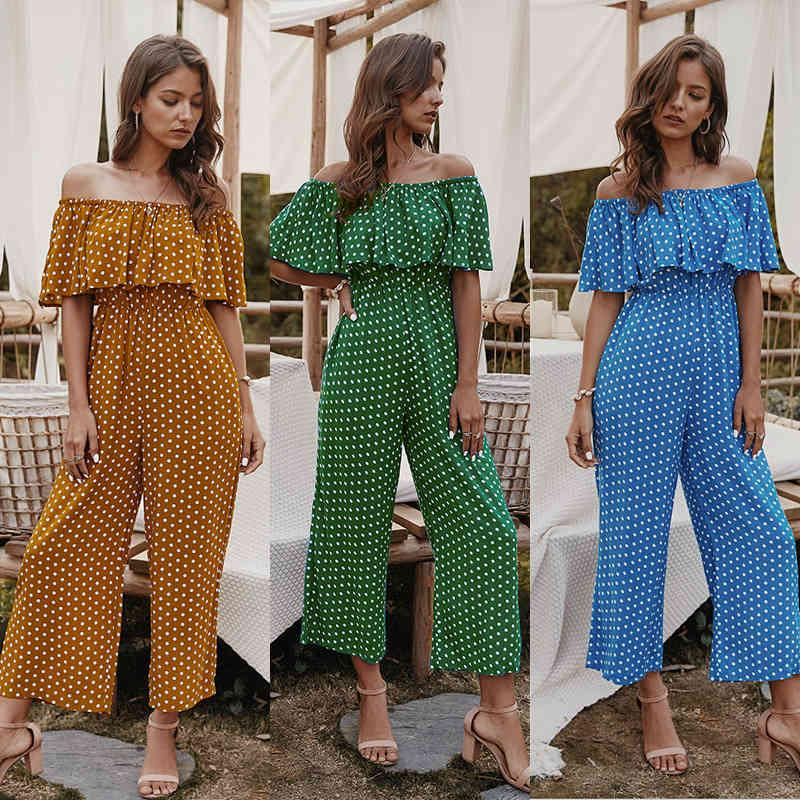 Suits Summer Off Shoulder Wide Leg Rompers Jumpsuits Women Casual Long Trousers Overalls Short Sleeve Polka Dot Boho Jumpsuit Pant