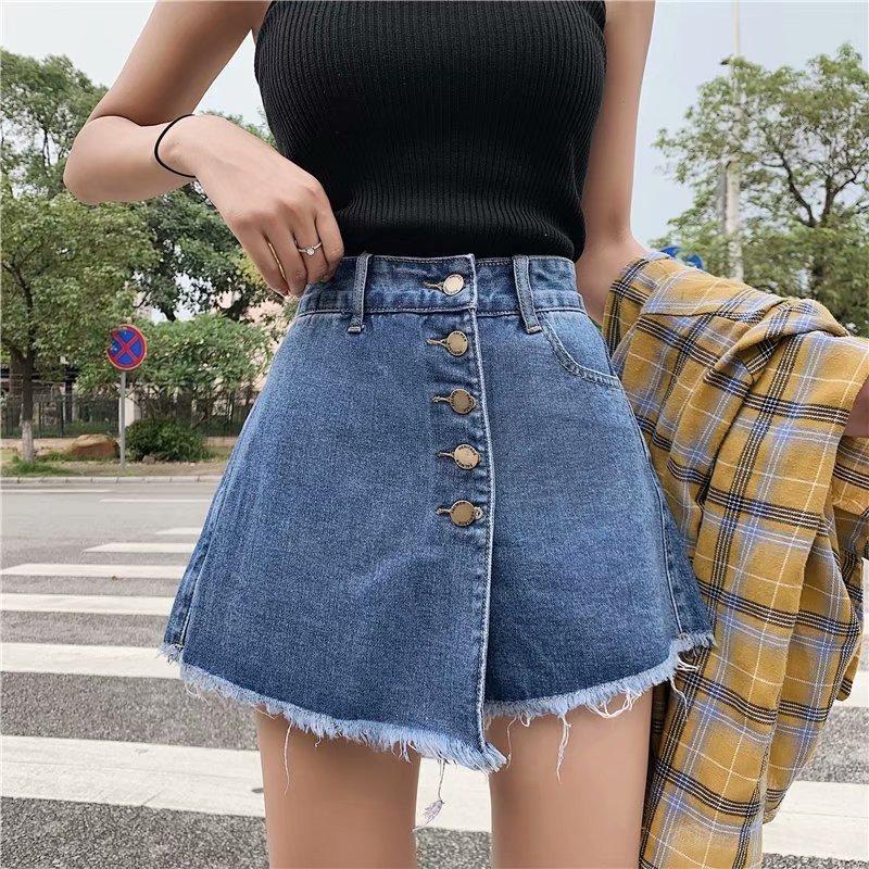 Jupes à hautes short en jean à taille haute Femme Style d'usure d'été pour femmes déchirure Loose Personnale Large Pantalon droite Fashion