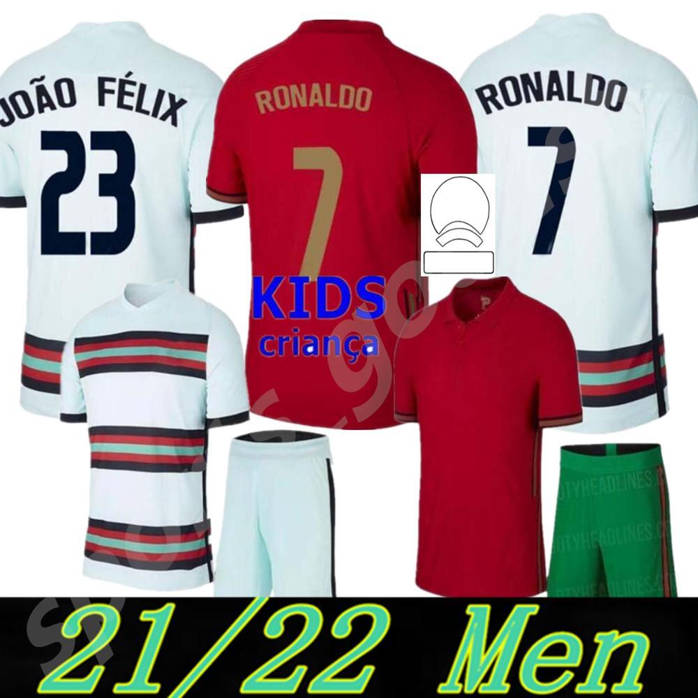 2020 Ronaldo Futebol Jerseys Crianças 20 21 João Felix Neves Bernardo Cancelo Ruben Neves 2021 Home Away Equipe Nacional Camisa de Futebol Kit Uniforme