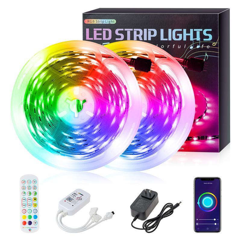 LED 스트립 16.4ft 32.8ft 50FT 65.6FT 12V-5050 램프 비즈 RGB 44 키 원격 제어 30LEDS / M 야외, KTV, 거실, 침실 요법에 적합