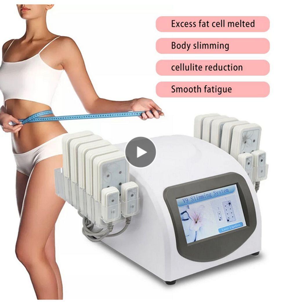 المحمولة الجسم التخسيس آلة شفط الدهون فقدان الوزن 650nm ديود الليزر 14 منصات ليبو معدات تدليك الجمال
