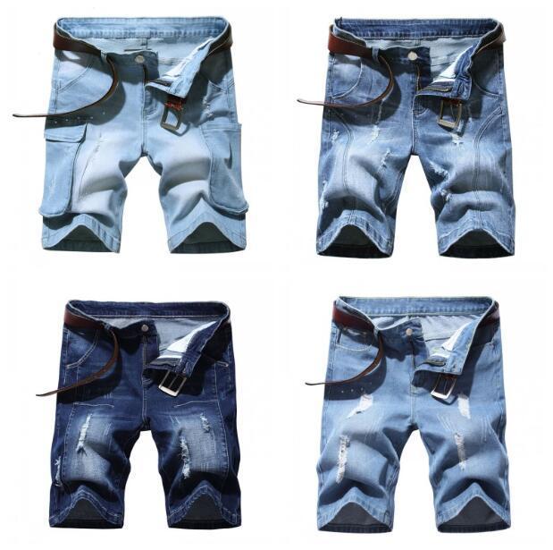 أزياء وصول الرجال الدنيم السراويل شورت ضائقة ممتلئة دمرت الأزرق القصير الجينز مان السراويل ST313
