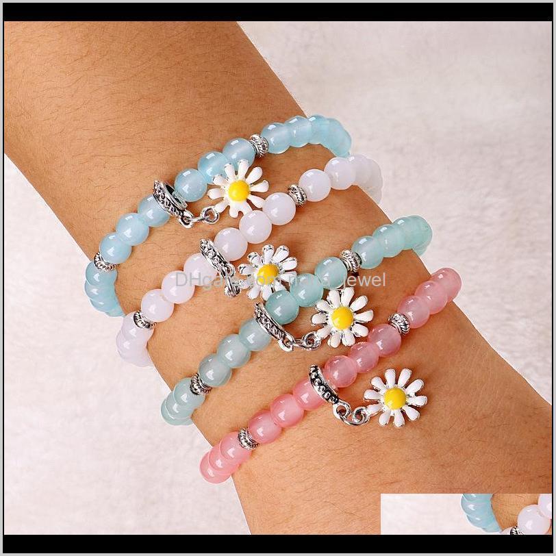 Encanto Venta de Moda Temperamento Simple Sun Flower Natural Beaded Color Crystal Daisy Pulsera Pulseras Ycoey A0YDJ