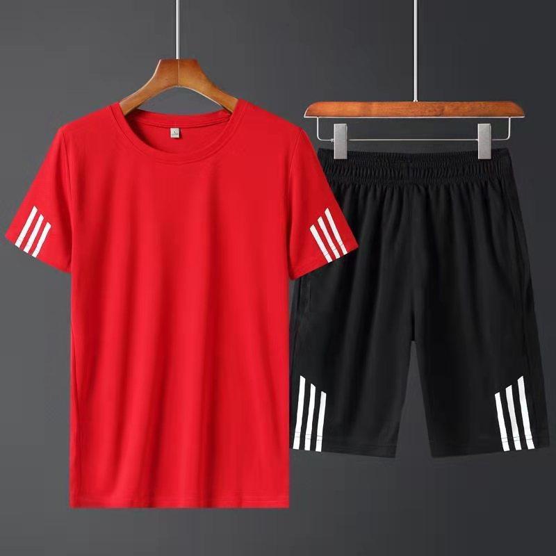 Ropa de gimnasio Hombres Cuello redondo de dos piezas Camiseta de manga corta y pantalones cortos ambientados en el verano de 2021