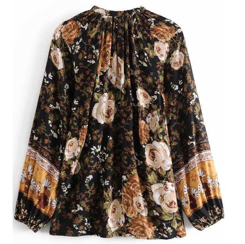 Damen Blusen Hemden Böhmen Ort Blume Print Shirt Ethnische Frauen Quaste Bogen Schnürung up V-ausschnitt Langarm Pullover 71ka