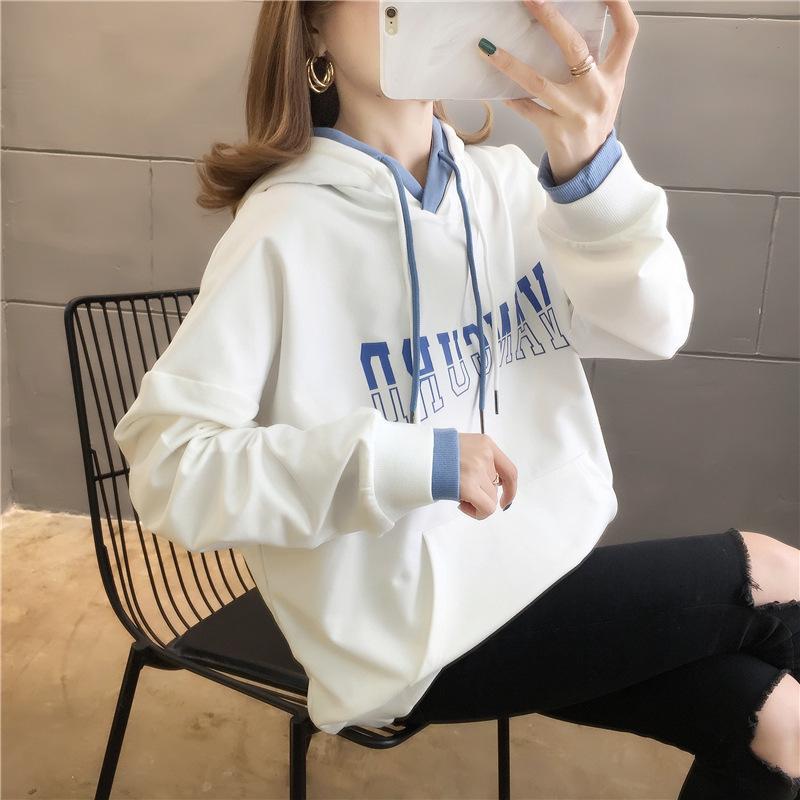 Gefälschte zweiteilige Pullover Frauen dünne lose koreanische Version 2021 Neue Frühlings- und Herbst-Mode-Oberteil mit Kapuze und vielseitigem Mantel