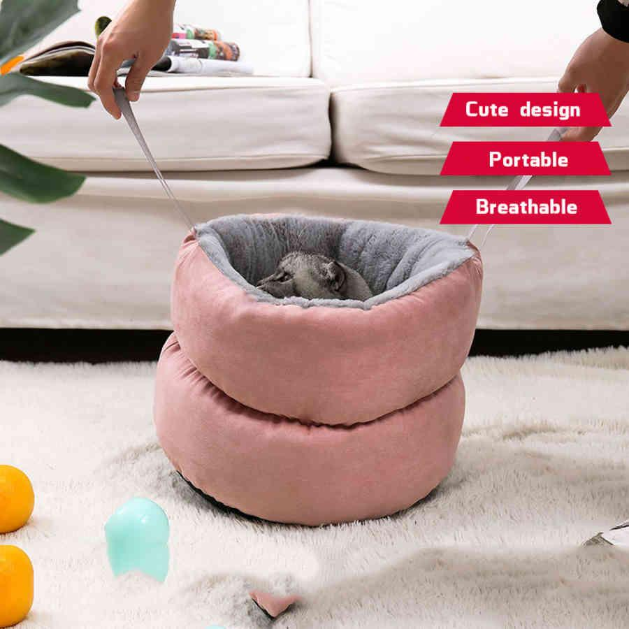 Puppy Pet Cat House Soft Plush Kennel Cushion Bed Cats Portable Comfortable Accessories for Dogs Luxury Dog VZUD