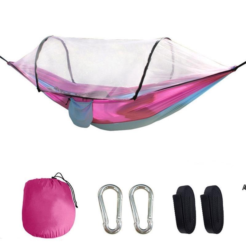 Nylon Paracadute Amaca con zanzariere Camping Survival Garden Swing Tempo libero Viaggi portatili Arredamento da esterno HWB7109