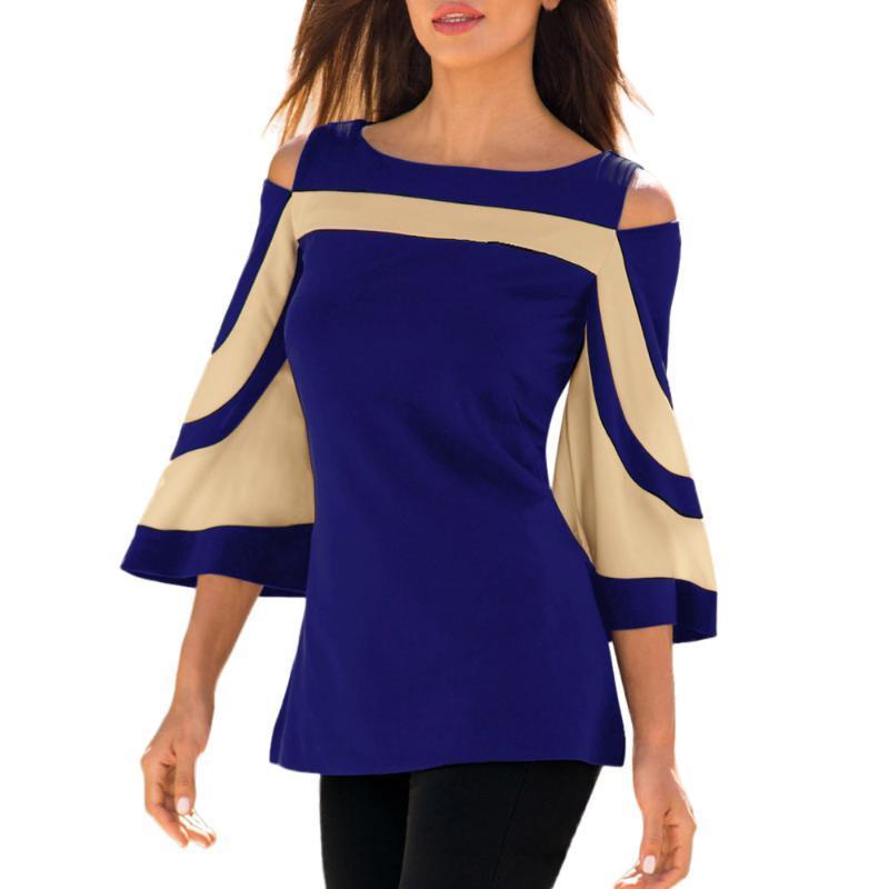 Top e camicette da donna con spalla fredda manica lunga manica lunga maglia camicetta camicetta flare nero Blusas camicie da donna
