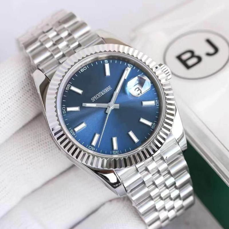 est mens 시계 탑 자동 기계식 파란색 날짜 - 그냥 스테인레스 스틸 시계 relogio masculino wristwatches