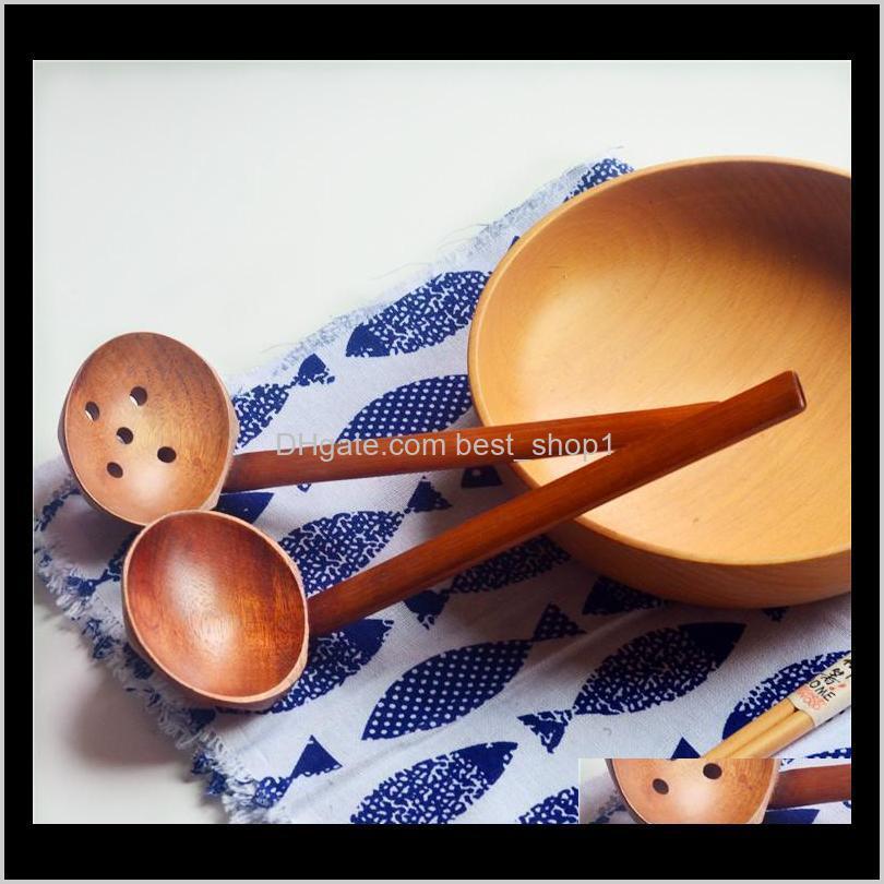 Cucharas 2 estilos Woderenttle Soup Sopa Colador Madera Vajilla Estilo japonés Ramen Madera Mango largo Pot Spoon AAA547 HICWR RN2XS