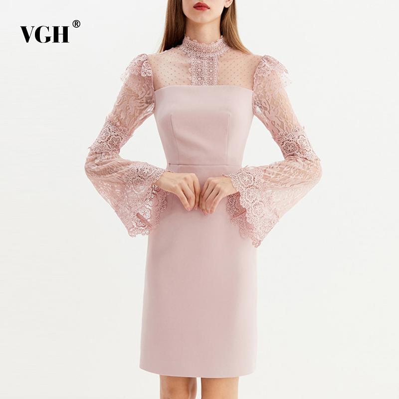 VGH Pembe Dantel Patchwork kadın Elbiseler Flare Uzun SleeveHollow Out Mini Parti Elbise Kadın Zarif Giysi Sonbahar Giysileri 210421