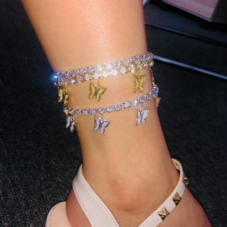 Gold Butterfly Anklet Rhinestone Crystal Ankle Charm Bracelet Boho Beach Anklets for Women Sandals Foot Bracelets Female Wedding Jewelry