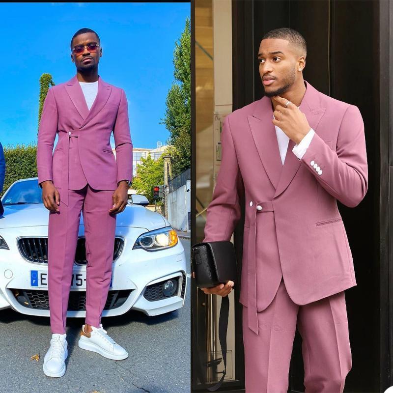Abiti da 2 pezzi rosa moda uomo su misura Uomini con cintura stile moderno stile casual taverche con colletto per partito di affari Business Blazer da uomo