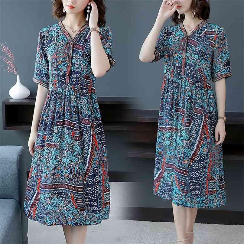 Sommer Mode blau plus Größe Runway Kleid Vintage Boho Print Maulberry Seide Midi Elegante Frauen Bodycon Party Vestidos 210603