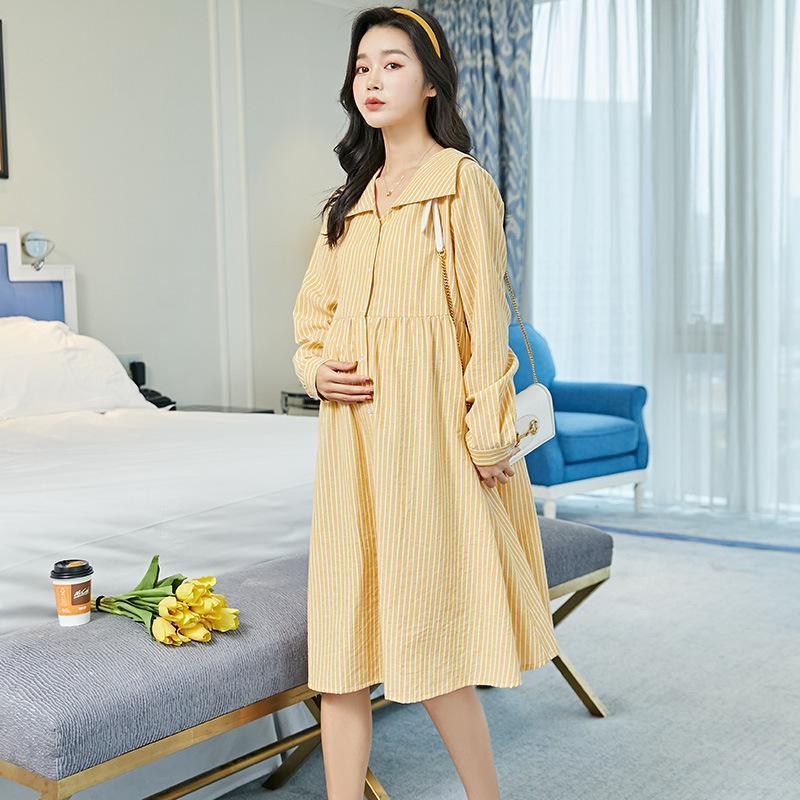 출산 드레스 봄과 여름 긴 소매 긴 얇은 섹션 중간 길이 치마 캐주얼 느슨한 스트라이프 옷깃 셔츠 드레스
