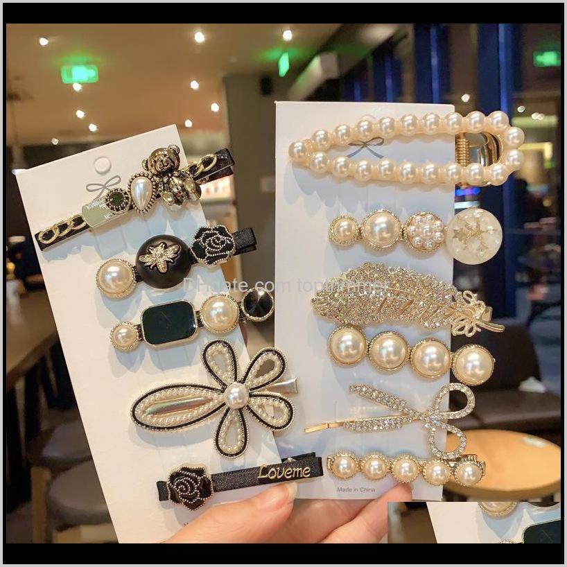 Werkzeuge Produkte Drop Lieferung 2021 Mädchen Schmuck Mode Pins Simulierte Perle Barrettes Perlen Geometrische Frauen Clip Haargriffe Haar Aswürdigkeit