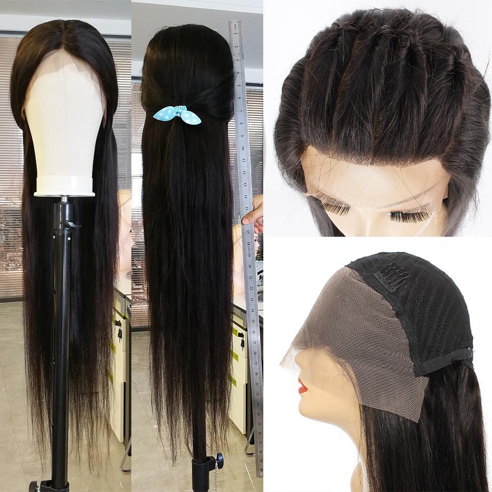 13x4 parrucca frontale in pizzo 32 pollici 180% Densità di Densità naturale Colore naturale Dritto Cuticle allineato Brasiliano Remy Capelli umani Pre-pizzicati Parrucche anteriori per le donne
