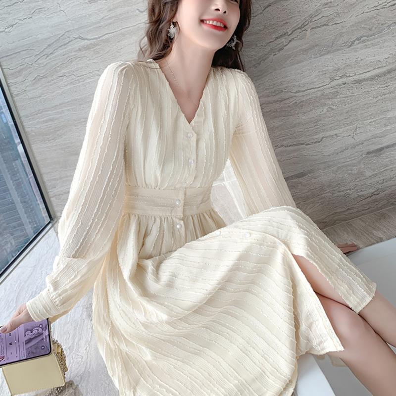 Kleid Französisch Frauen Casual Sleeve Vintage Elegante Büro Chiffon Party Lange Frau 2021 Frühling Süße einteilige koreanische robes 9lcp