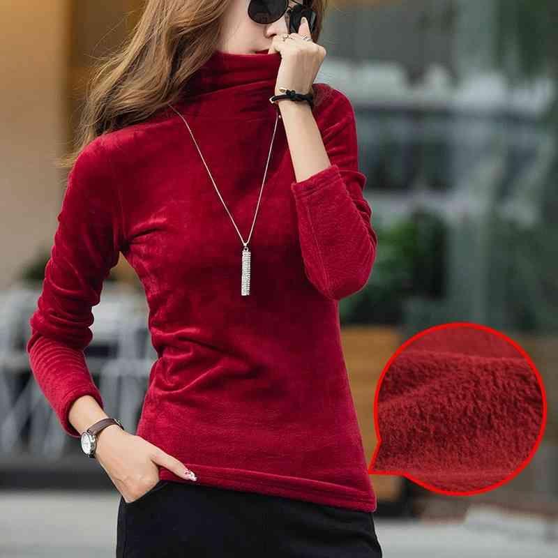 Rollkragenzweig Velvet Fleece T-shirt Frauen Feste Tops Stretchy Langarm Plus Größe S-4XL Frühling Herbst T-Shirt Bottoming T90394 210420