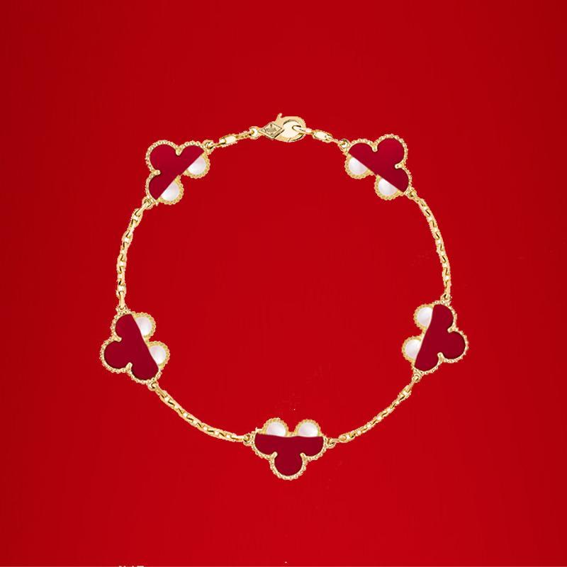 Klasik 18 K altın dört yapraklı yonca bilezik zinciri kadınlar için moda ve yüksek kalite