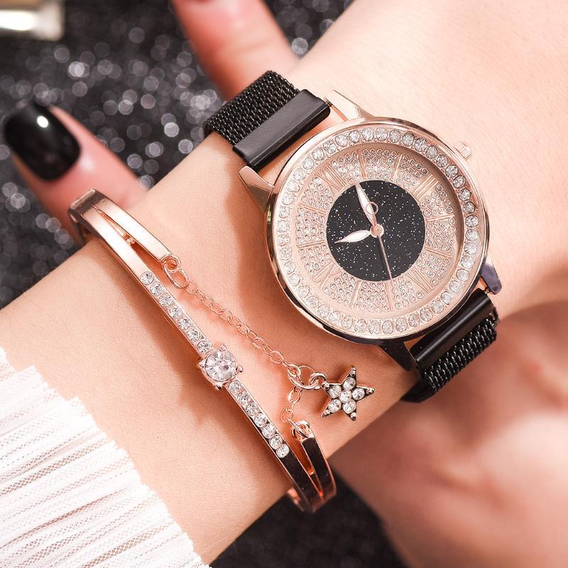 Armbanduhren 2 stücke Set damen magnetische sternenhimmel uhr luxus frauen uhren mode diamant weibliche quarz relogio feminino a3786