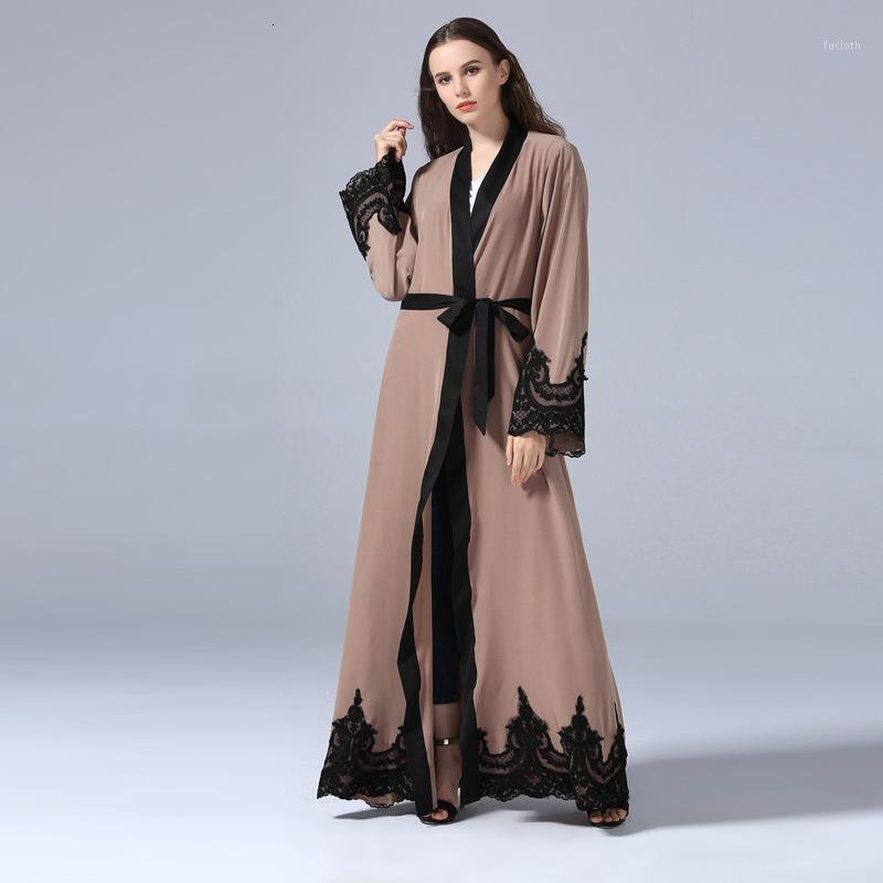 레이스 두바이 이슬람 카디건 패치 워크 Abaya 아랍 의류 터키 중동 이슬람 여성 긴 드레스 패션 대형 size1