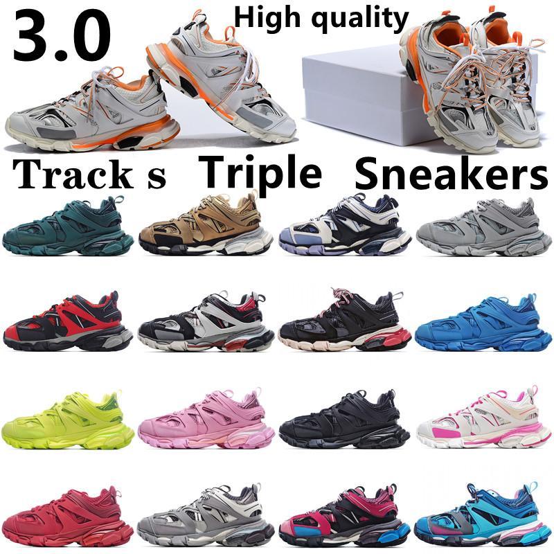 2021 جودة عالية باريس 3.0 المسار s triple shoe clunky العدائين أحذية رياضية رمادي البرتقالي رجل الأزرق نسخة مصمم النساء الرجال الأحذية الرياضية حذاء رياضة 36-45 مع مربع