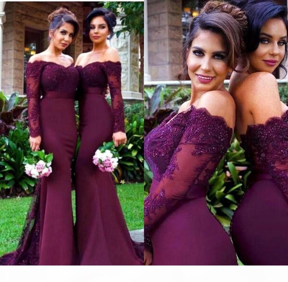 Custom Made Lace Applique Off Shoulder Long Sleeve Mermaid Bridesmaid Dresses Sexy Evening Prom Dress Gowns Maid Of Honor
