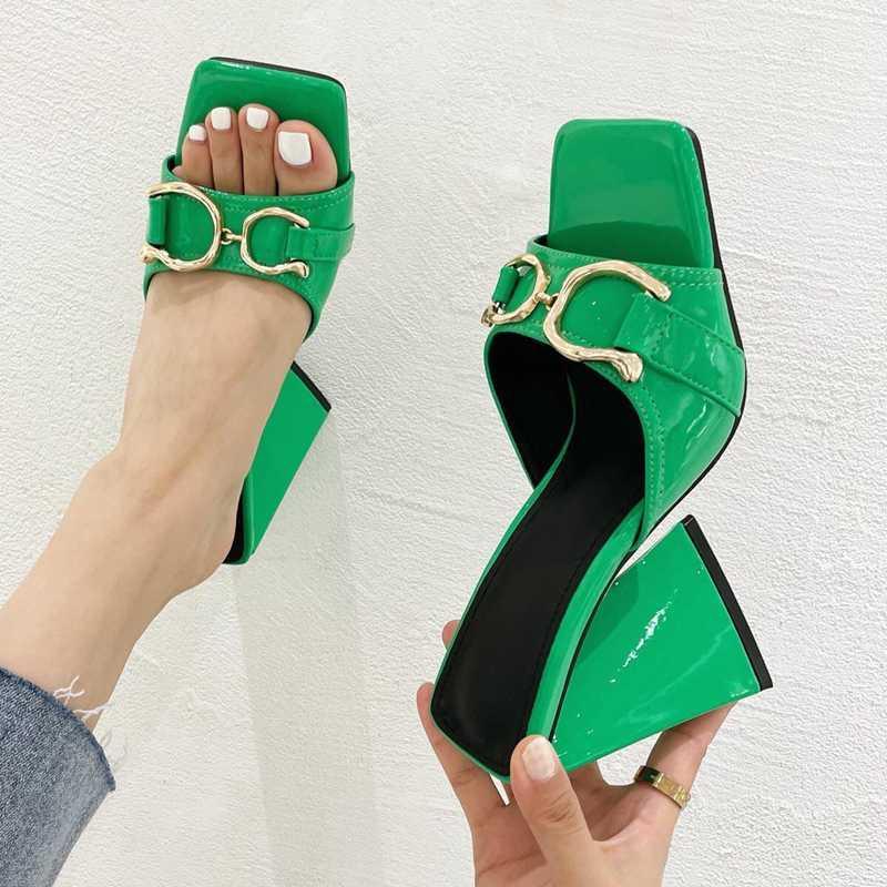 Sandálias Linda Modern Spike Heels Quadrado Aberto Toe Cor Pura Pura Com Metal Decorar Slip-on Fashion Slides Shoeppers