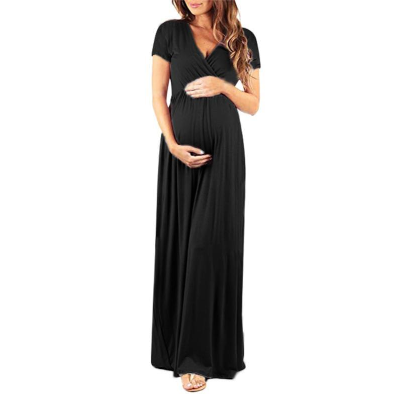 Women's Pregnancy V Collar Short Sleeve Dress Maternity Lady's Sundress Clothes Ropa Mujer For Pregnant Women A1 Dresses