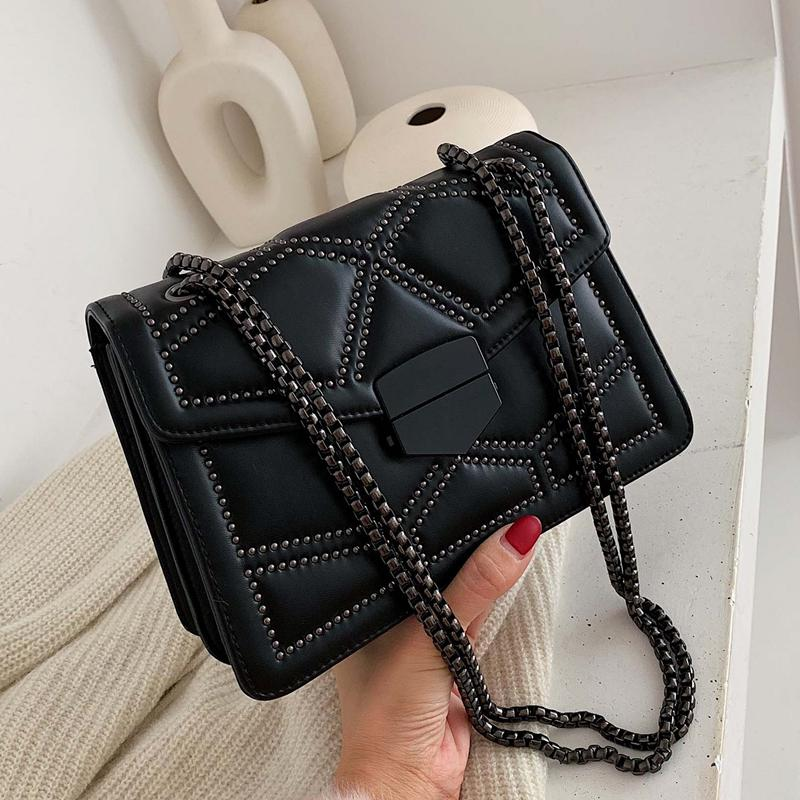 Chain Crossbody Bags For Women 2021 Simple Brand Designer PU Leather Fashion Shoulder Bag Purse Wallet Lady Luxury Small Handbags Clutch Messenger Tote