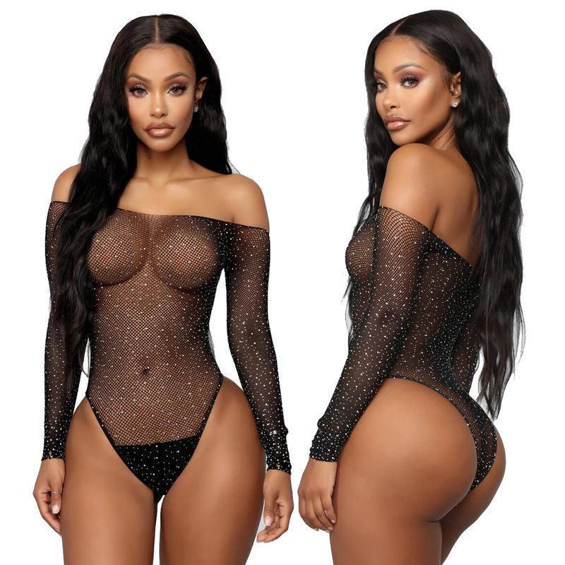 الملابس الداخلية مجموعة مثير أسود المرأة النوم الدانتيل شبكة صيد السمك حجر الراين ملابس داخلية داخلية قبالة shouder بذلة الصلبة lenceria