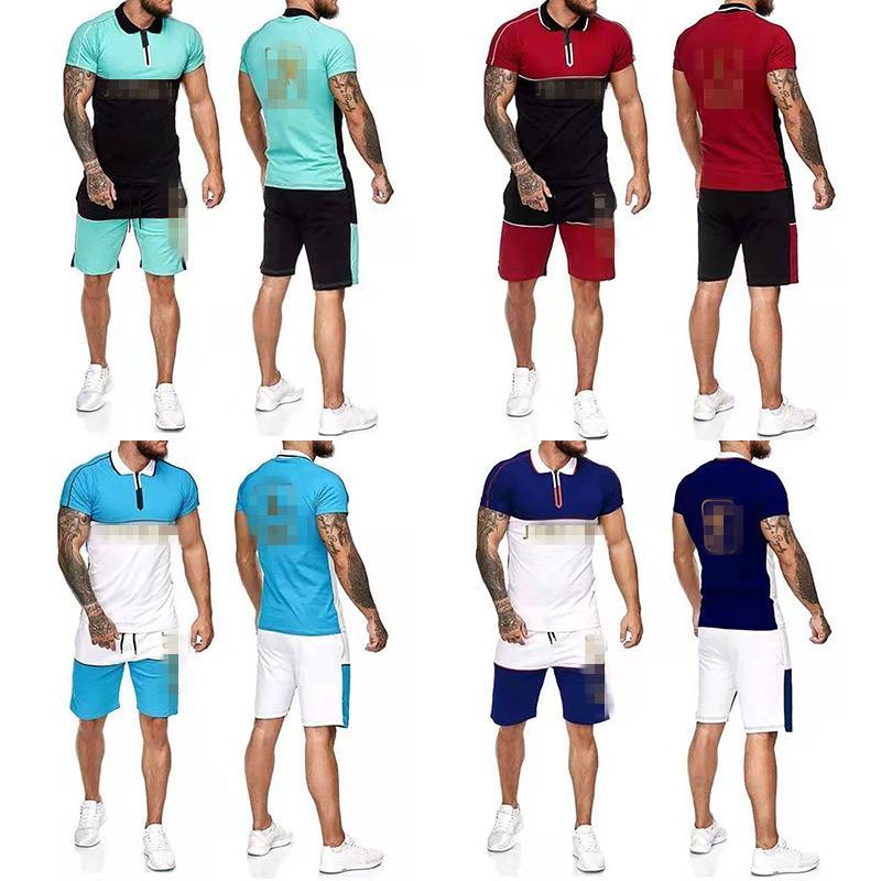 Estate Tracksuits Uomo Casual Shorts Set Shirt manica corta + Pantaloncini Set di tuta maschile massiccio Set da uomo Abbigliamento da uomo 2 pezzi